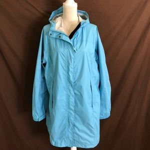 LL Bean Long Hooded Rain Coat Jacket 1X Plus
